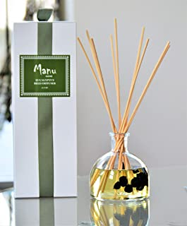 Manu Home Eucalyptus Reed Diffuser - Real Eucalyptus Extract 6.5 oz ~Uniquely Fresh and Cleansing, The Eucalyptus Reed Diffuser radiates Warmth and Vitality~ Proudly Made in The USA