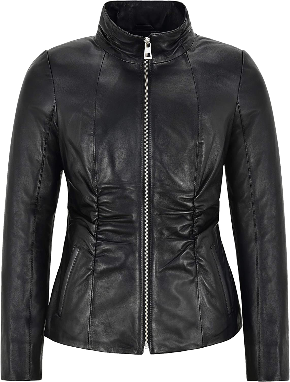 Boutique Victoria Ladies Shirrings Fashion Leather Jacket Black 100% Real Leather 13107