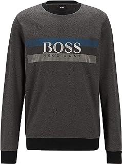 BOSS Mens Authentic Sweatshirt Loungewear Sweatshirt with Block-Striped Logo Print