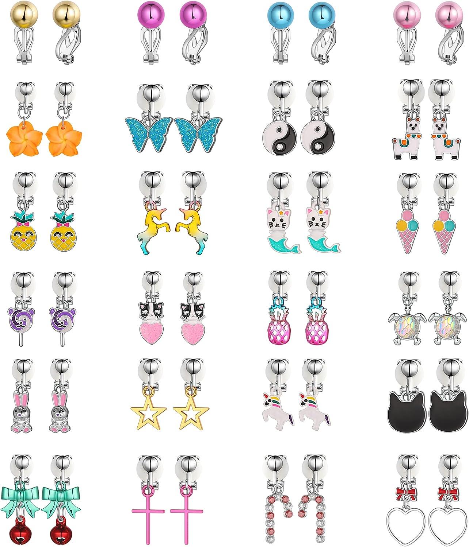 Aganippe Super intense SALE 20 24 Pairs Girls Clip On Cute Earrings Brand Cheap Sale Venue Dangle Cli Drop
