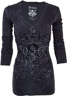 Affliction Archaic Women LS T-Shirt Black Tide Skull Motorcycle Biker UFC