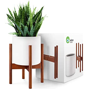 EdenHomes Mid Century Modern Plant Stand with Pot Set. 10 Inch Flower Pot - White Plant Pot with 14 Inch Tall Plant Holder. Modern Indoor Planter with Stand Decor