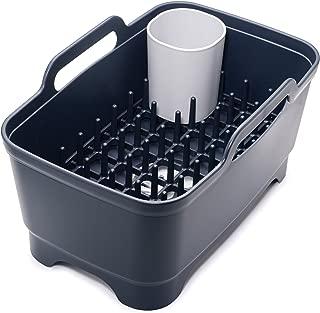 Joseph Joseph 85102 Wash & Drain Plus Dishpan and Dish Rack Utensil Holder Set with Dishwashing Basin Dryer Dish Rack Drainer Plug Carrying Handles, Gray