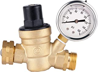 SAIDE Water Pressure Regulator Valve, Brass Lead free NH Connector Adjustable Water Pressure Reducer Valve for RV travel trailer camper with oil Gauge and inlet screened filter