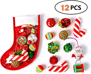 Highland Farms Select Christmas Stocking Cat Gifts Set - Cat Toy Filled - Kitty Festive Stocking Variety Pack Toy - 12 Packs