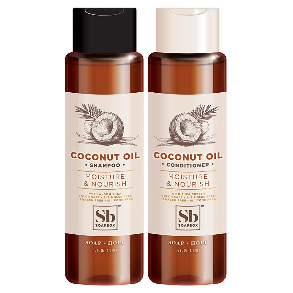 Soapbox Shampoo and Conditioner Set with Coconut Oil, Jojoba Oil, Aloe and Shea Butter to Moisturize and Nourish for All Hair Types, 16 Ounces Each