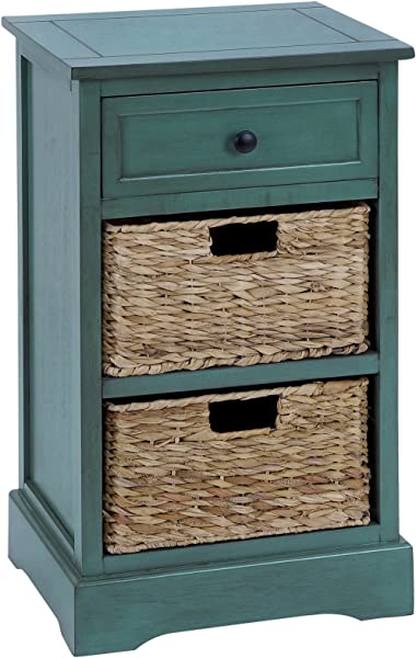Urban Designs Malibu 3 Drawer Night Stand With Wicker Baskets Teal