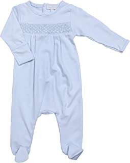Baby Boy MB Essentials Smocked Footie Solid Blue