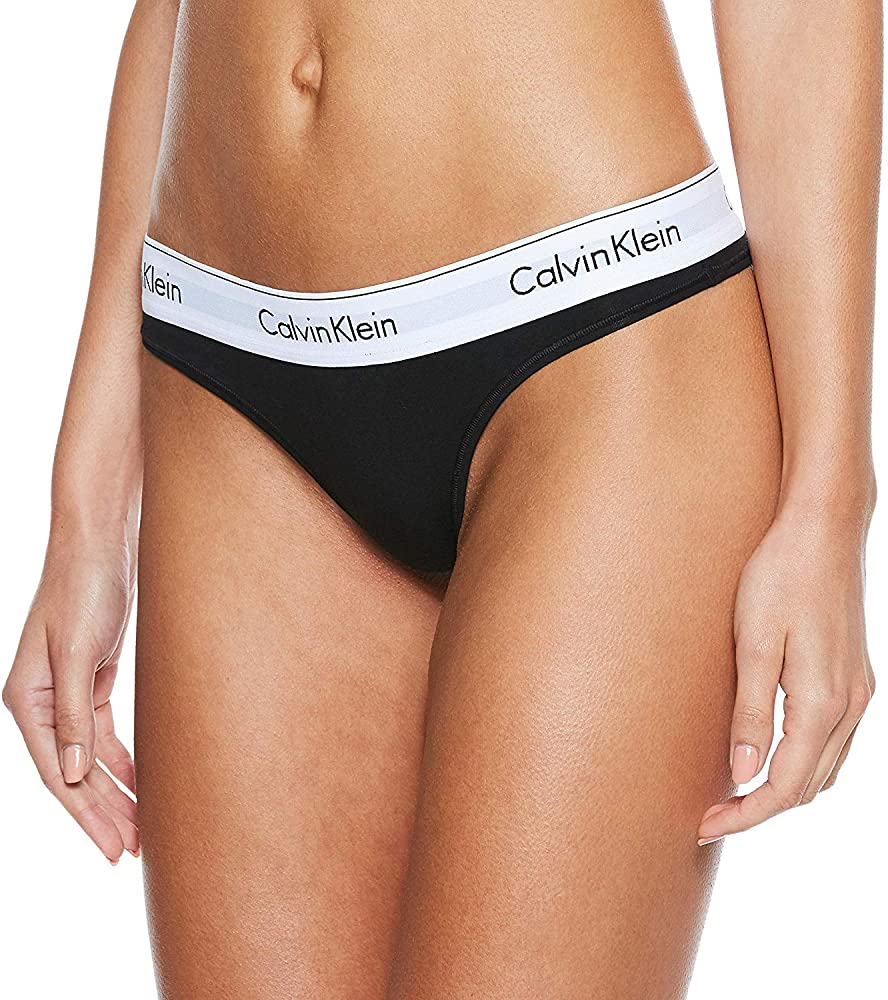 Calvin klein thong, slip per donna , 53% cotone, 35% viscosa, 12% elastan , NERO  0000F3786E