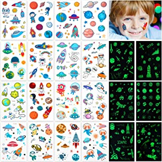 22 Sheets Space Tattoos Sticker 300 Patterns Glow in the Dark Spaceship Alien Temporary Tattoos Stickers Luminous Solar System Universe Outer Space Waterproof Temporary Tattoo for Kids Favors