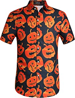 Men's Fun Pumpkins Button Down Short Sleeve Halloween Shirt