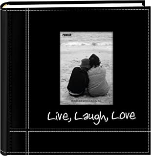 Pioneer Photo Albums Embroidered Live, Laugh, Love Black Sewn Leatherette Frame Cover Album for 4