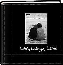 Pioneer Álbuns de fotos bordados Live, Laugh, Love costurado em couro sintético para impressões de 10 x 15 cm