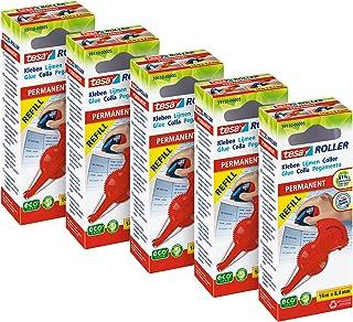 tesa Lijmroller Permanent ecoLogo Roller en Navulcassette - Set van 5 Pack - Ergonomisch ontworpen lijmstift - Lijmstick n...