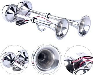 Amarine Made 12v Marine Boat Stainless Steel Dual Trumpet Horn, Low and High Tone, 18-1/2