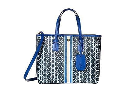 Tory Burch Gemini Link Canvas Small Tote (Bondi Blue Gemini Link) Handbags