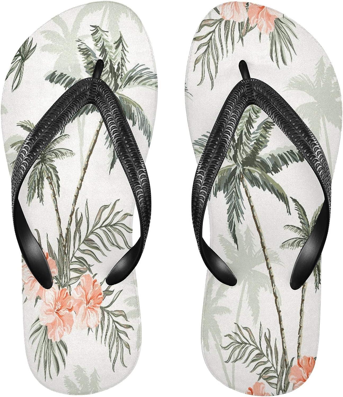 Nander Summer Women Indoor Outdoor Slippers Floor Flat Shoes Beautiful Old Tropical Palm Trees Flower Flip Flops Men Non-Slip Bathroom Home Beach Comfortable Sandals