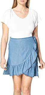 Only Onlsofia Wrap Knee Dnm Skirt Falda para Mujer