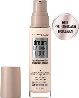 Maybelline New York Dream Radiant Liquid Medium Coverage Hydrating Makeup, Lightweight Liquid Foundation, 02 Fair Porcelain, 1 Fl. Oz