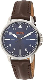 Hugo Boss Mens Quartz Watch, Analog Display and Leather Strap - 1550060