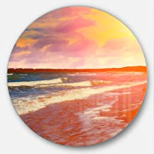 """Designart MT10477 C23 Desert Beach At Sunset Modern Beach Round Metal Wall Art Disc, 23"""" x 23"""""""