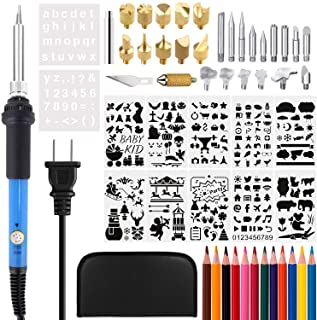 ATHOMEY 40Pcs Wood Burning Kit, Adjustable Temperature Iron/Leather Pyrography Pen + Embossing/Carving/Soldering Tips +Stencil + Stand + Carrying Case, XX