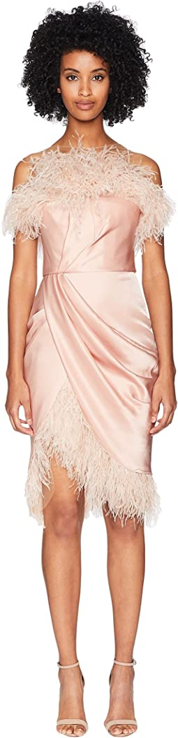 Strapless Draped Silk Satin Cocktail w/ Ostrich Feather Fringe