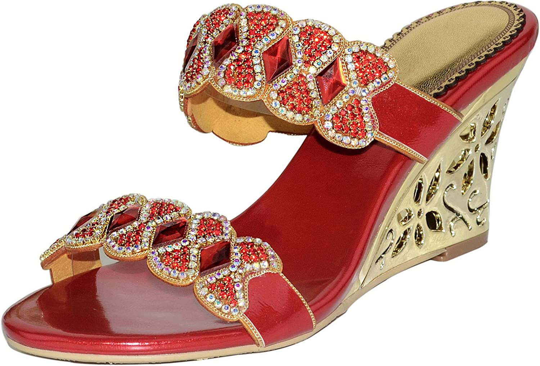LizForm Women Wedge Sandal Crystals Studded Wedding Heels Open Toe Evening Sandals