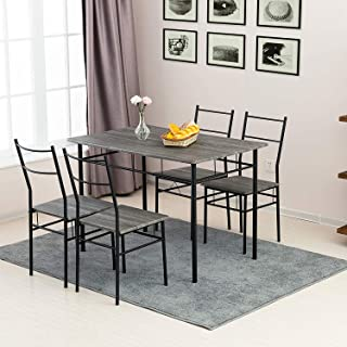 mecor 5 Piece Dining Table Set, Vintage Wood Tabletop...