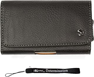 BlackBerry Leap, Priv Case, Horizontal Textured Black Leather Hip Holster withBelt Clip, Loop (SAM066) and eBigValue HandStrap