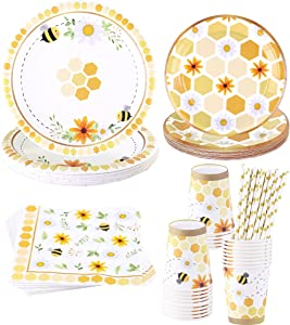Bee Themed Party Supplies – Serves 16 – Includes Disposable Bee Plates, Cups, Napkins, and Straws Perfect for Bee Decorations, Bumble Bee Birthday Party Pack, Bee Gender Reveal, and Baby Shower