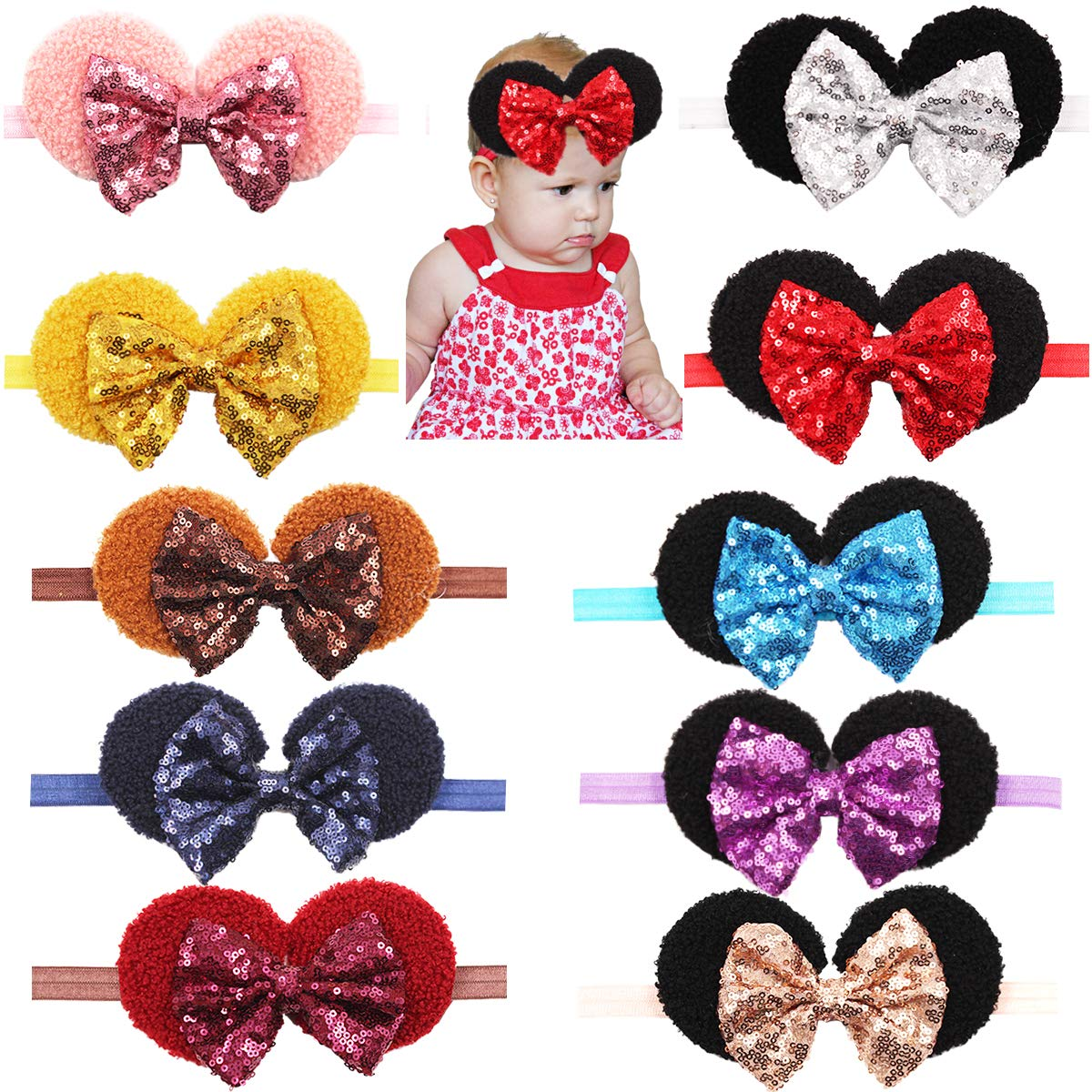 Special price Baby Girls Sequin Headbands 6Inch Sparkly Big Sequ Glitter OFFicial Large