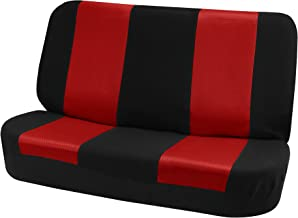 FH-FB102010 Classic Cloth Solid Bench Seat Cover Red/Black- Fit Most Car, Truck, SUV, or Van