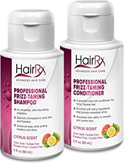 HairRx Professional Frizz-Taming Shampoo & Conditioner Travel Set, Light Lather, Citrus Scent, 2 Ounce Bottles
