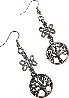 Pewter Celtic Knot Square Tree of Life Nickel Free Earrings Jewelry