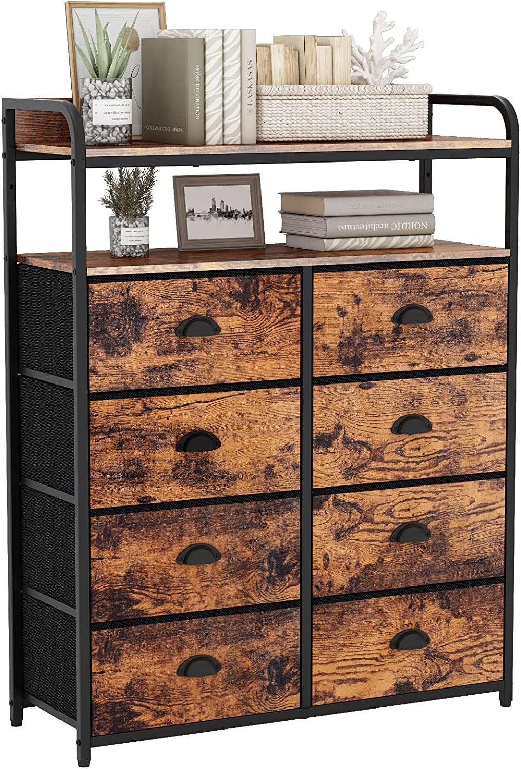 Furologee Dresser 8 Drawers with Double Shelf, Tall Storage Organizer Unit for Bedroom/Living Room/Entryway,Fabric Bins,Wooden Top(Rustic Brown