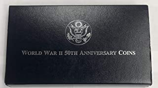 1991-1995 World War II $1 50th Anniversary Commemorative Coin Set w/OGP - 2 Coin Set