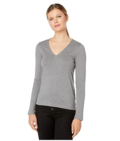 Lacoste Long Sleeve Classic Supple Jersey V-Neck T-Shirt (Stone Chine) Women
