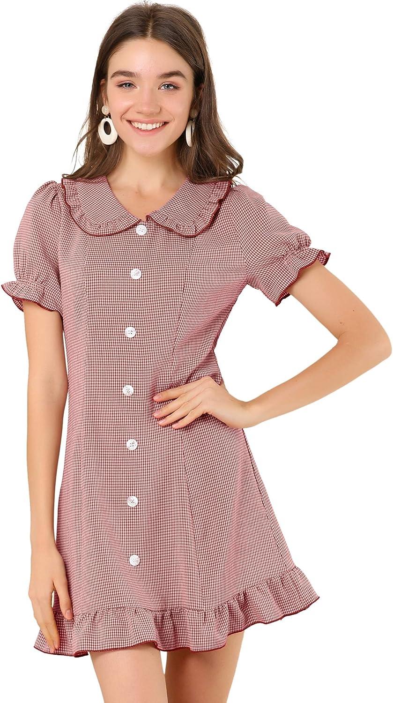 Allegra K Women's Peter Pan Collar Button Decor Ruffle Hem Plaid Dress