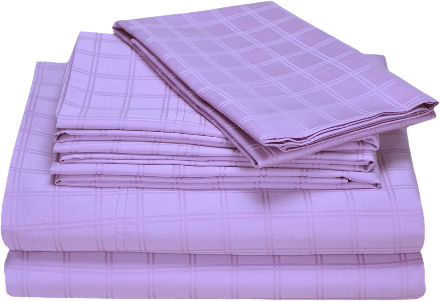 Elite Home Imperial Collection Double Windowpane 350 Thread-Count 100-Percent Cotton Sateen Twin Size 4-Piece Sheet Set, Lavender