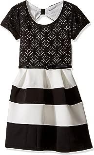 Speechless Girls' Big Ponte Stripe Lace/Scuba Dress