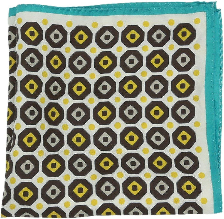 Altea Men's Octagon Printed Silk Pocket Square