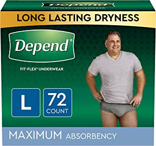 Depend FIT-FLEX Incontinence Underwear for Men, Maximum Absorbency, Disposable, Large, Grey, 72 Count