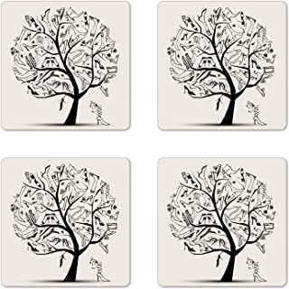 Ambesonne High Heels Coaster Set of 4, Tree of Various Shoes Fashion Theme Vogue Woman Feminine Print, Square Hardboard Gloss Coasters for Drinks, Coconut and Charcoal Grey