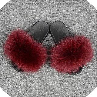 Women's Fur Slipper Real Fur Fashion Style Furry Slides Soft Warm Big Fluffy Fur Shoes