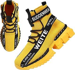 WEITE Sneaker Herren Hohe Schuhe Herren Sportschuhe Weiß Schwarz Gelb Turnschuhe Herren Beiläufig Atmungsaktiv Komfortabel...
