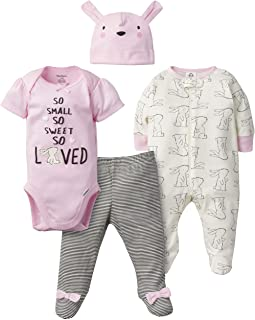 Baby Girls' 4-Piece Sleep 'N Play, Onesies, Pant and Cap