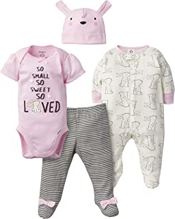 GERBER Baby Girls 4-Piece Sleep 'N Play, Onesies, Pant and Cap, Bunny Love, 3-6 Months