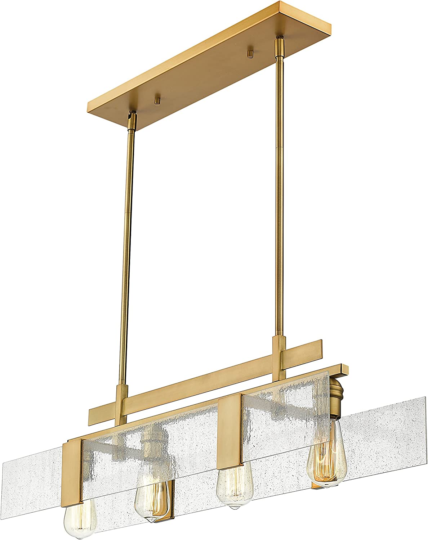 ZLite 300232VBRS Gantt  Four Light Island Billiard, Vintage Brass Finish with Seedy Glass
