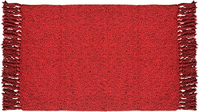 Winwinplus Braided Rug Cotton Handwoven Reversible Decorative Area Tassels Rugs for Bedroom/Living Room,Wine Red 2'x3'